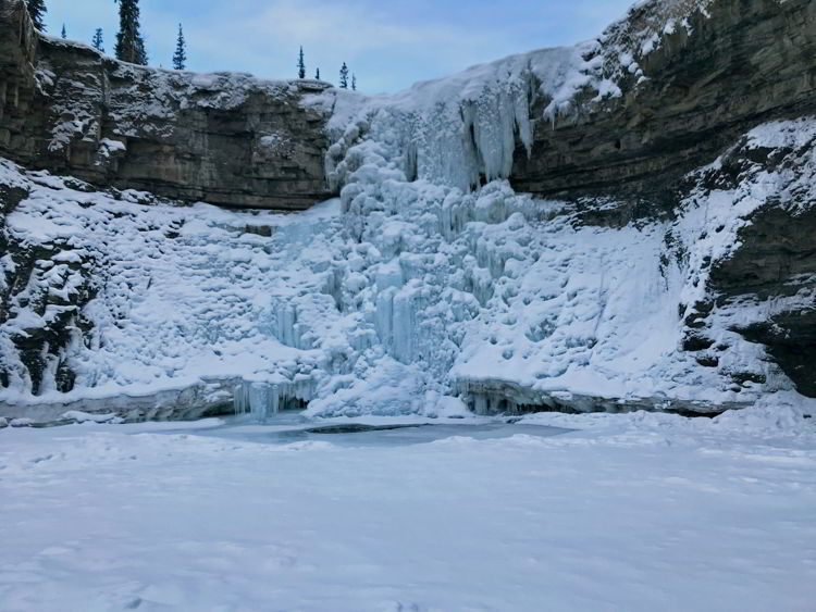 An image of frozen Crescent Falls  - Abraham Lake, Alberta