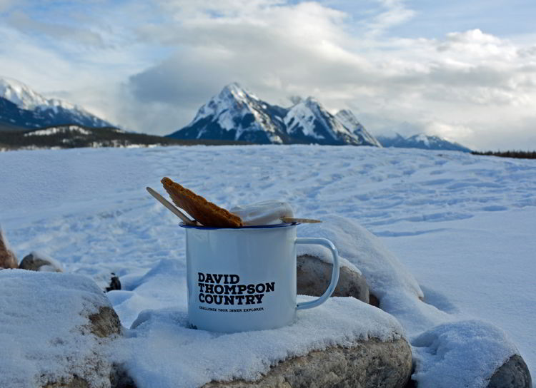 An image of a David Thompson Tourism mug on a rock at Preacher's Point near Abraham Lake, Alberta