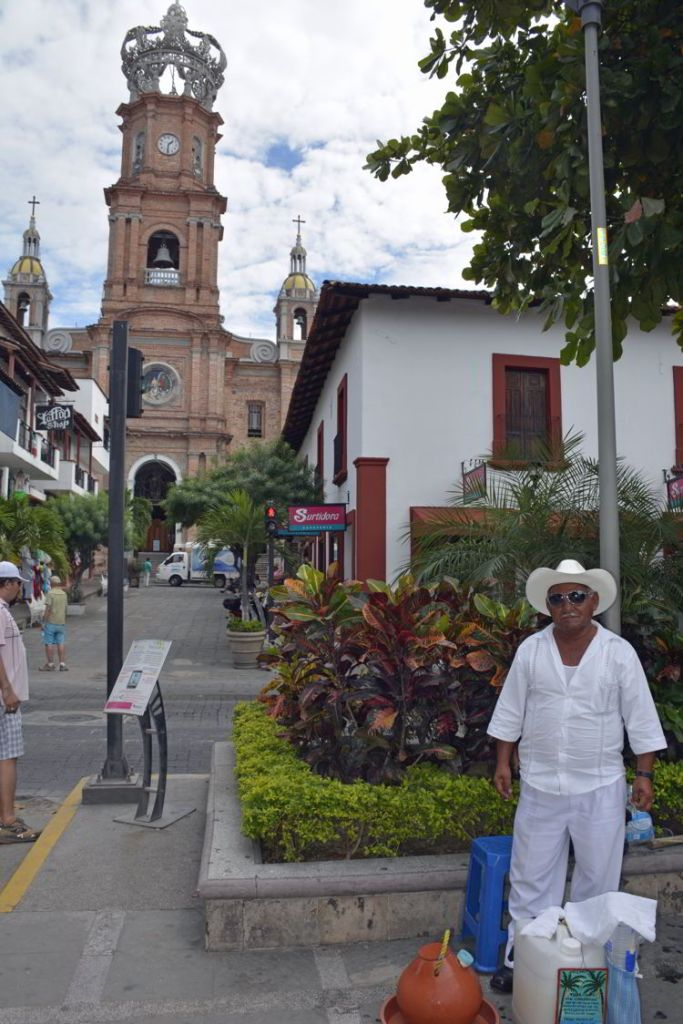 An image of a la tuba salesman named Mr. Concepcion in downtown Puerto Vallarta - the best tacos in Puerto Vallarta