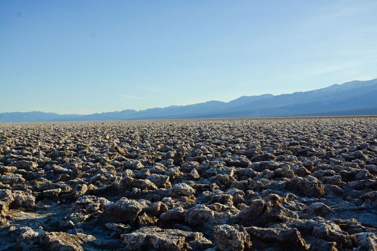 An image of the salt formations at Devil's Golf Course - visiting Death Valley