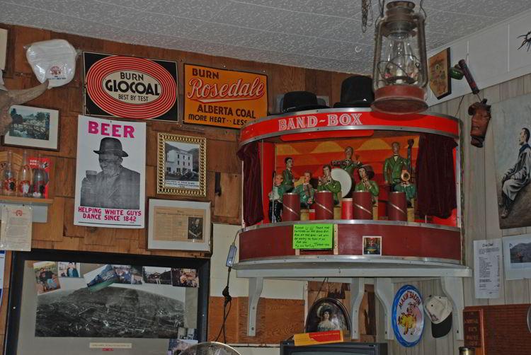 An image of an antique music box in the Last Chance Saloon in Wayne, Alberta near Drumheller, Alberta