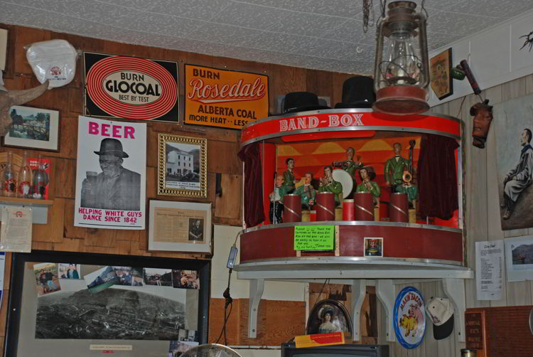 An image of an antique music box in the Last Chance Saloon in Wayne, Alberta near Drumheller, Alberta