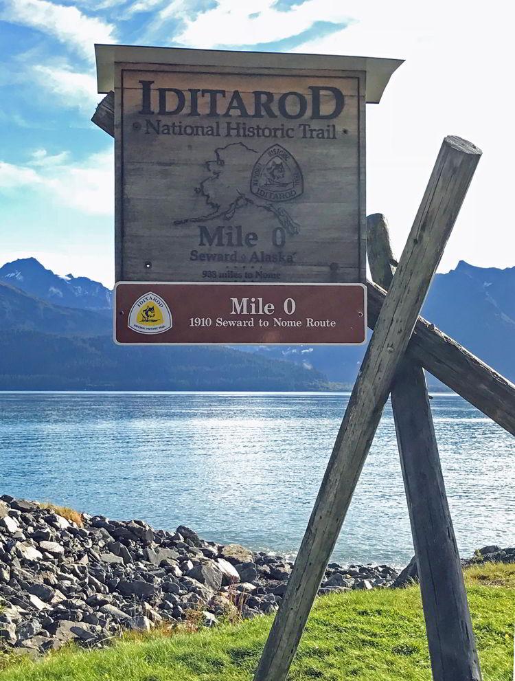 An image of the mile zero monument on the Iditarod Trail in Seward, Alaska USA - Things to do in Seward, Alaska