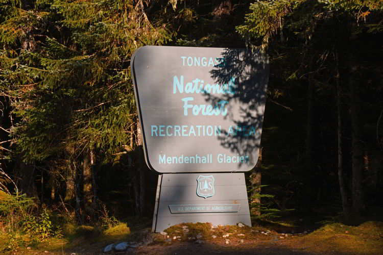 An image of the Tongass National Forest sign just outside Juneau, Alaska.