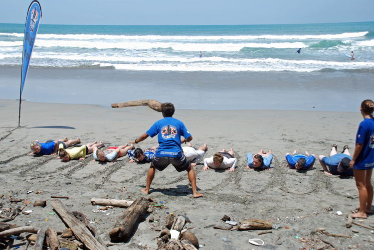 An image of a group of people at surf school in Costa Rica.