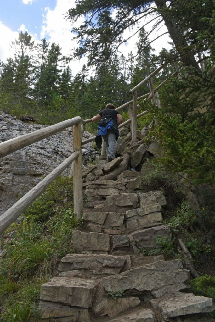 An image of a steep area of the Grassi Lakes trail near Canmore, Alberta - Grassi Lakes hike.