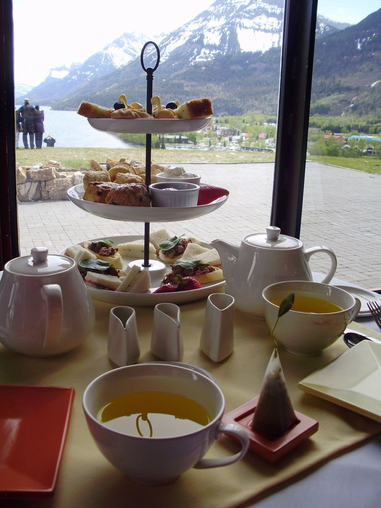 An image of the high tea service at the Prince of Wales Hotel in Waterton Lakes National Park in Alberta, Canada.
