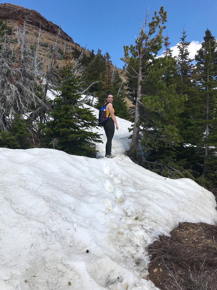An image of snow on the trail at Table Mountain, Alberta.