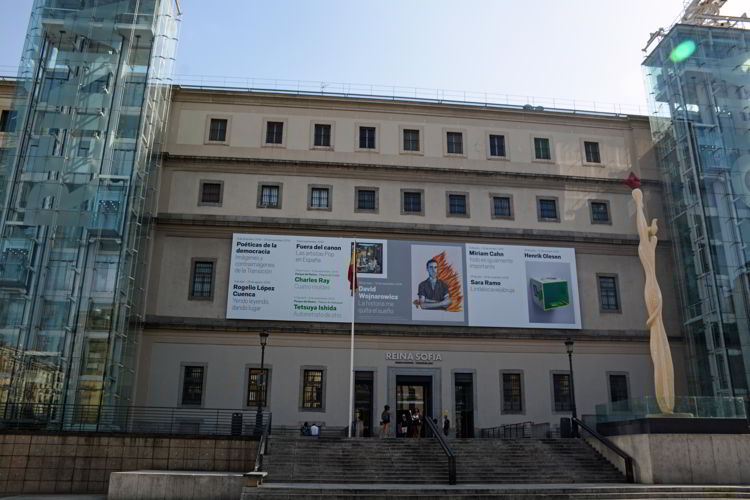 An image of the exterior of the Reina Sofia Museum in Madrid, Spain - Free things to do in Madrid.