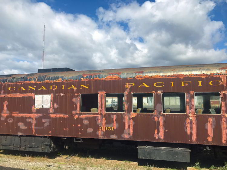 An image of a Canadian Pacific Rail car at the Cranbrook History Museum in Cranbrook, BC.