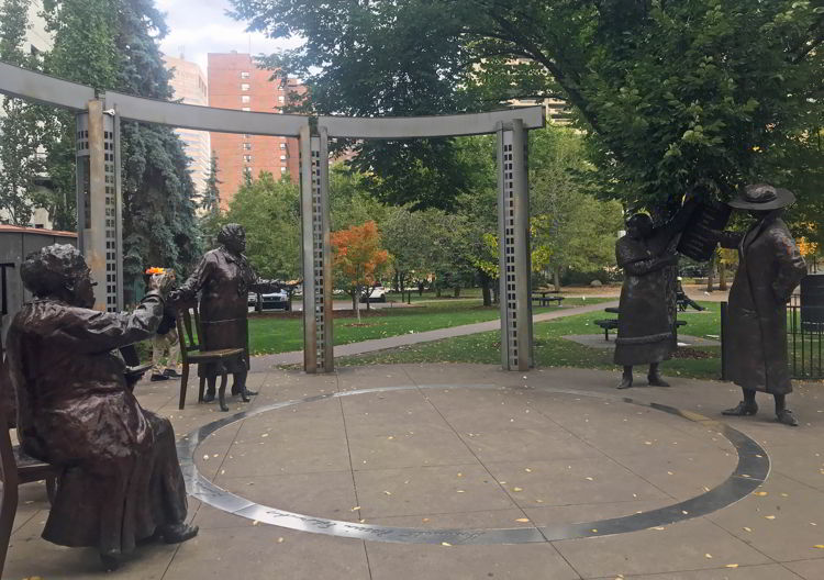 An image of the Famous Five Monument in Calgary, Alberta, Canada.