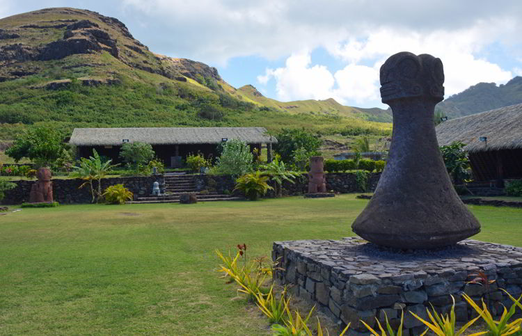 An image of the world's largest breadfruit pounder on the island of Ua Huka in French Polynesia as seen on an Aranui 5 cruise.
