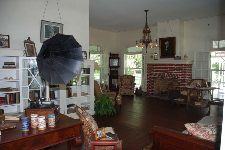 An image of the living room of Thomas Edison's winter home in Fort Myers, Florida.