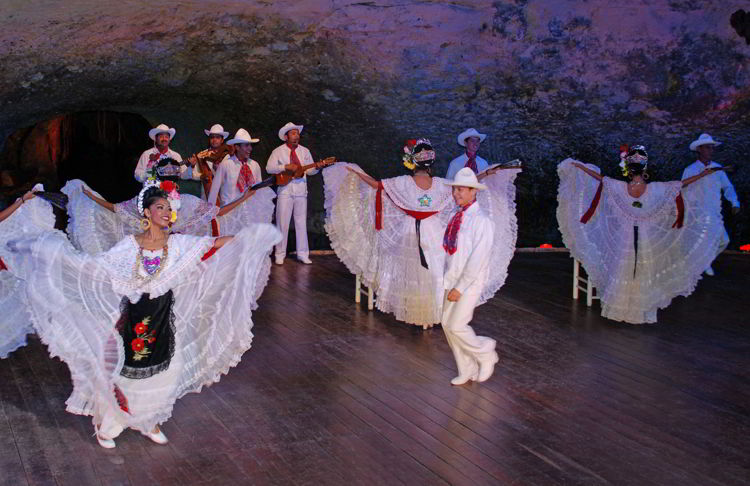 An image of the Xcaret Park evening dance show near Cancun, Mexico.