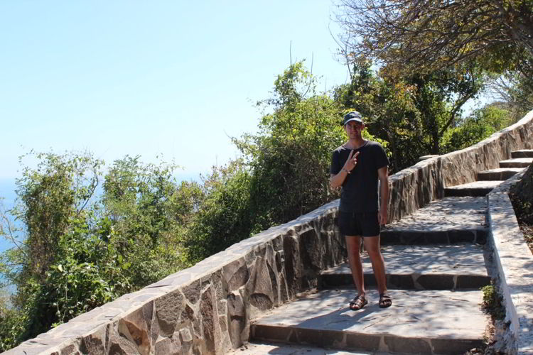 An image of the steps leading to El Faro Lighthouse in Mazatlan, Mexico.