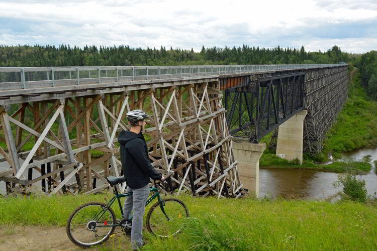 An image of the Beaver River Trestle Bridge near Cold Lake, Alberta - Iron Horse Trail.