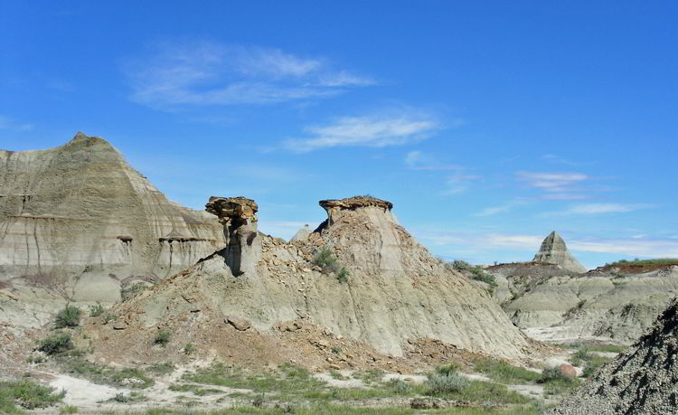 An image of The Camel rock formation in Dinosaur Provincial Park in Alberta, Canada.