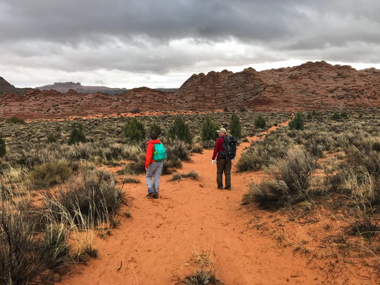 An image of a man and a woman hiking in Coyote Buttes North Wilderness area in Utah, USA.