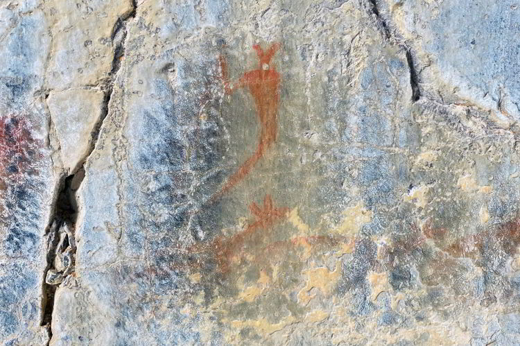 An image of the Indigenous rock paintings on the Grotto Canyon hike - best easy hikes in Kananaskis, Alberta, Canada.