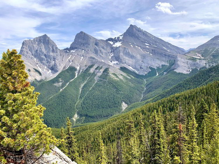 An image of the view from the top of the Grassi Knob Trail in Kananaskis, Alberta, Canada near Canmore.