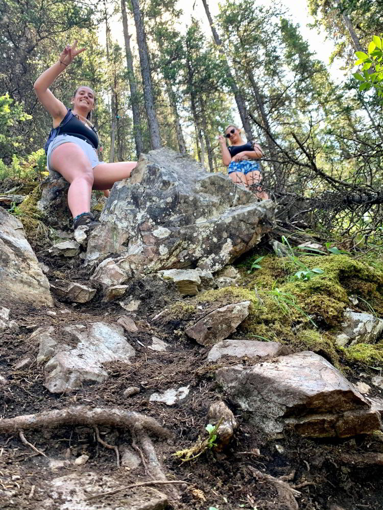 An image of the steepness of the Grassi Knob Trail near Canmore, Alberta, Canada.