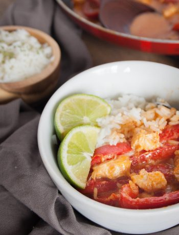 Skip the takeout and make homemade Red Thai Chicken Curry instead! Ready in less than 20 minutes, this is the perfect meal for a weeknight or any day!