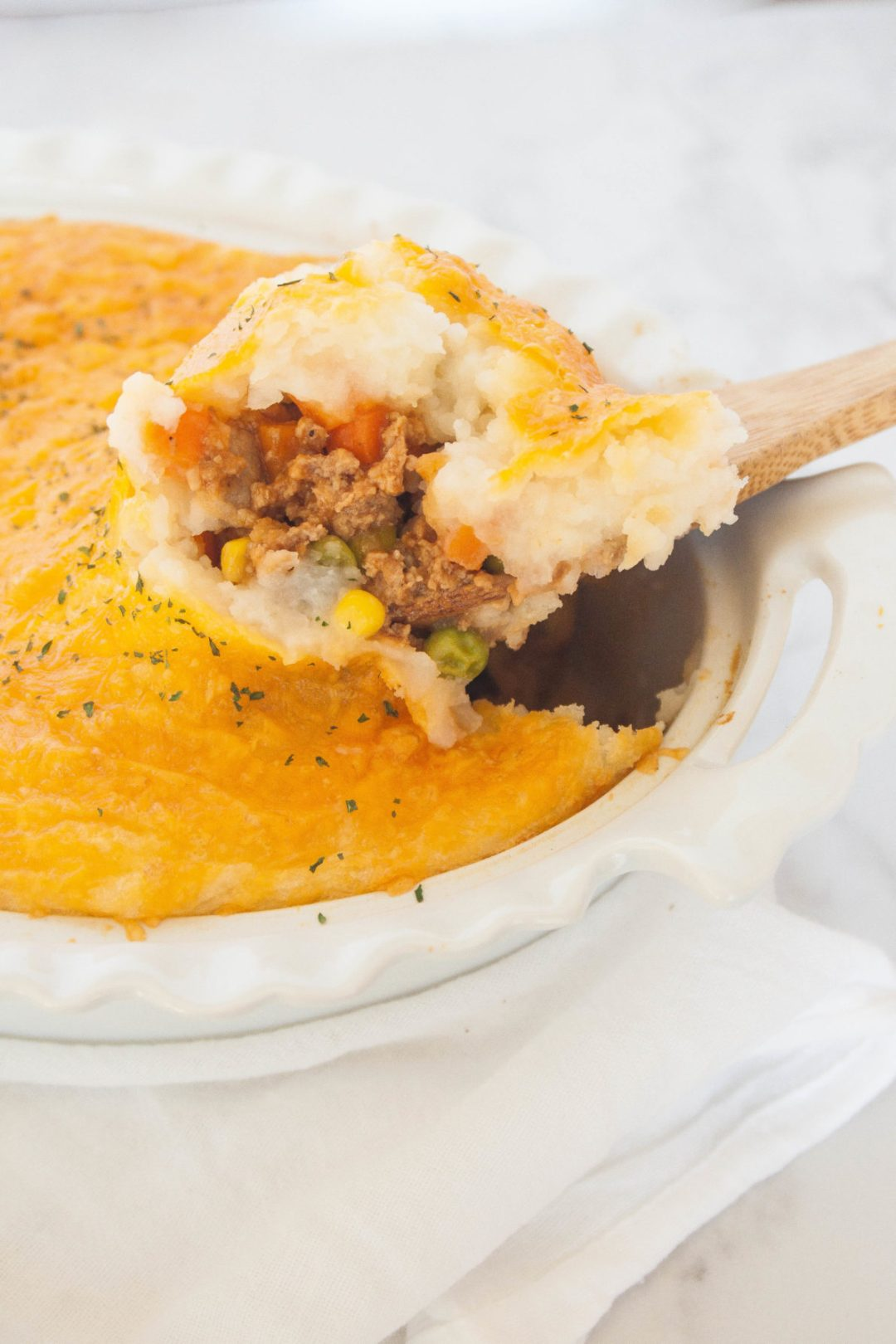 A traditional English meal, Shepherd's Pie is the ultimate comfort food. Topped with a layer of buttery mashed potatoes and cheese, everyone will be begging for seconds!