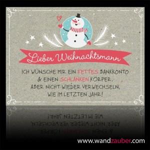 wandzauber-postkarte-weihnachten Grusskarte Schneemann schlank fett