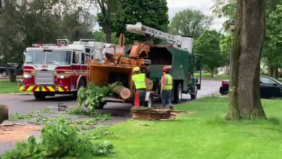 Storm cleanup on Crescent Avenue