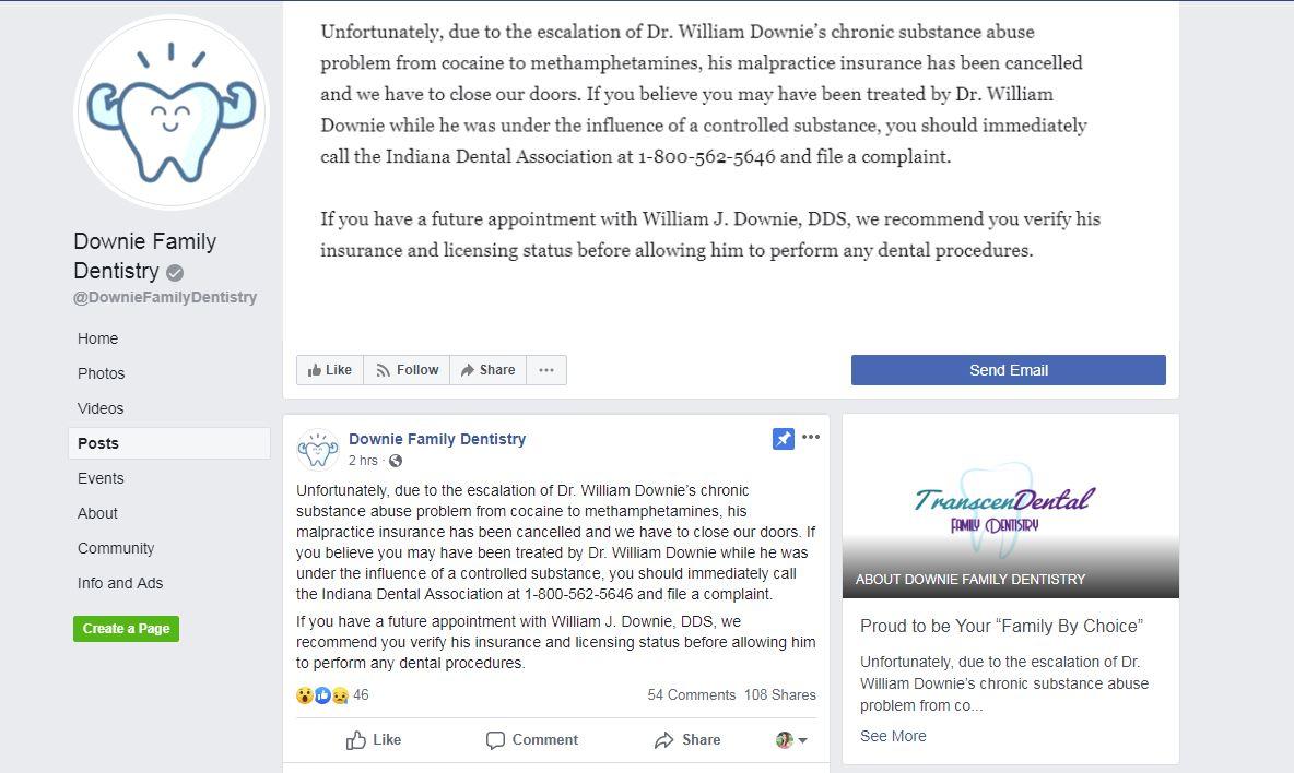 Downie Dentistry Facebook post