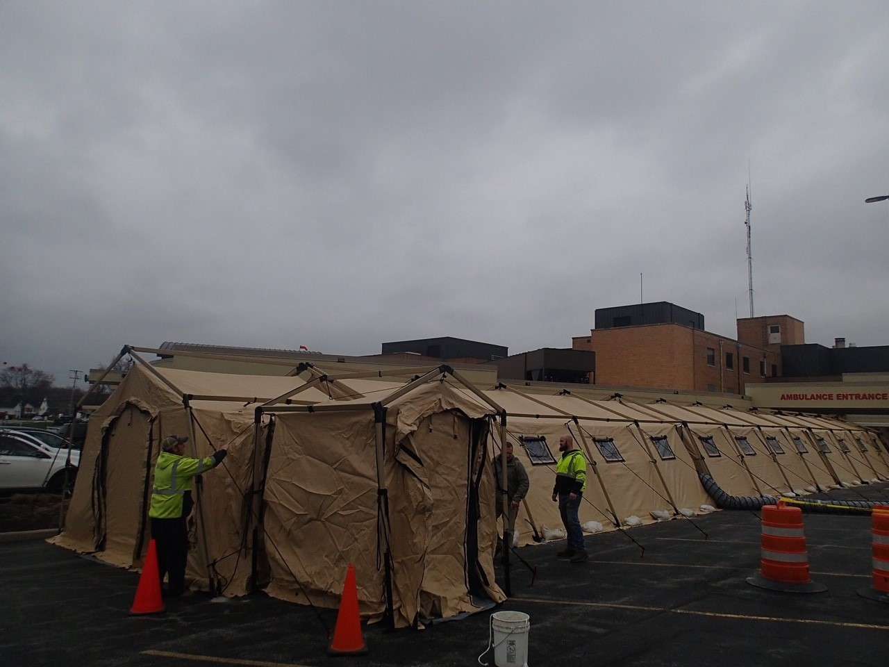 Tents Set Up Outside Ohio Medical Facility In Case Of