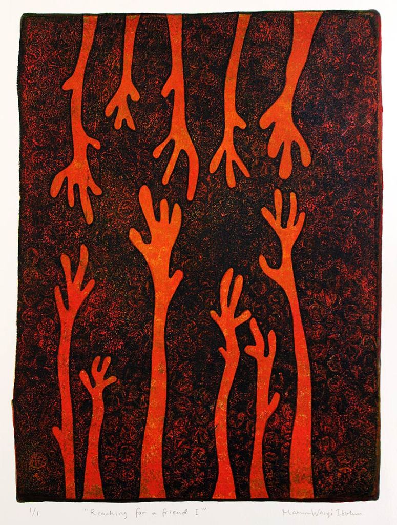 Reaching for a friend I, monotypi, blandteknik, 20x26,5 cm. ©Maria