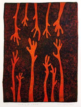 Reaching for a friend I, monotypi, blandteknik, 20x26,5 cm. ©Maria