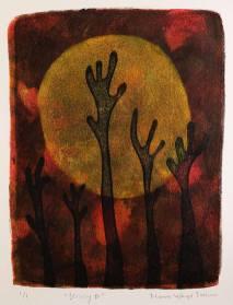 Striving II, monotypi, blandteknik, 15x20 cm. ©Maria Wangi Ibohm