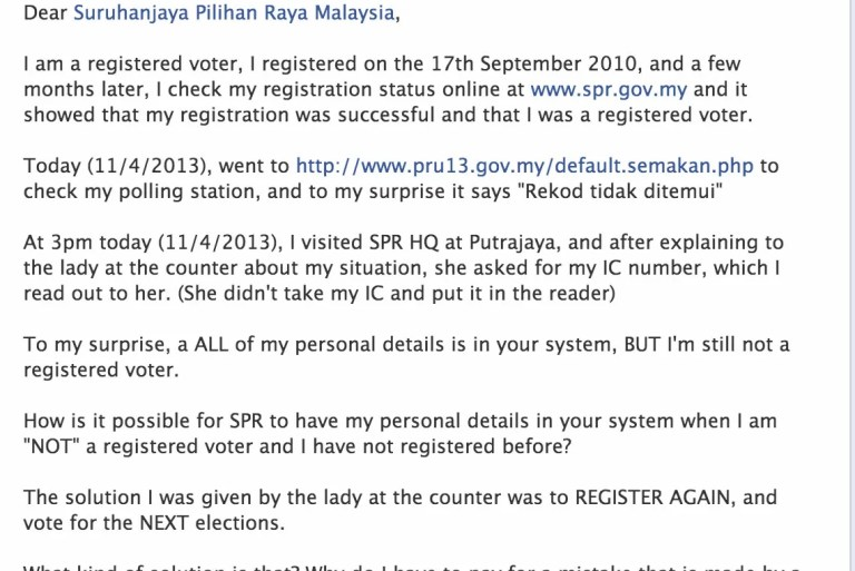 """[ Daftar Pemilih #PRU13 ] Sudah Daftar Tapi """"Rekod Tidak Ditemui"""" : Masalah Pangkalan Data SPR?"""