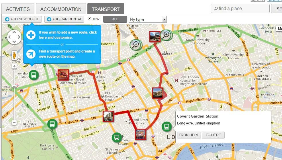 Peta itu juga menunjukkan lokasi pengangkutan awam yang terdapat  di sekitar bandar untuk memudahkan pergerakan anda.