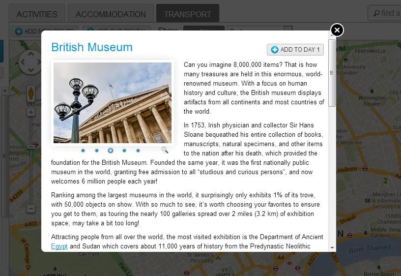 Apabila anda menekan ikon sesuatu destinasi, pop-up akan muncul untuk memberikan info lanjut mengenai destinasi tersebut.