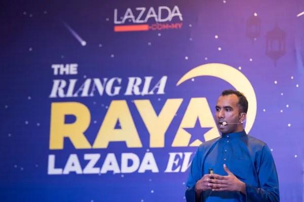Ketika sesi pelancaran Kempen Riang Ria Raya Lazada. Foto - Arkib Wanista