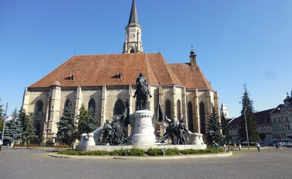 The statue of Matthias Corvinus and St. Michael's Church