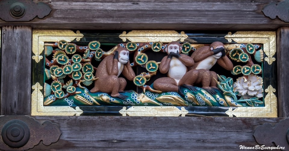 """See no evil, Speak no evil, and Hear no evil"" monkeys."