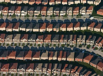 Arial photo of suburbs of Canada