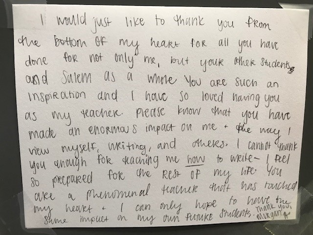 Thank you card from student