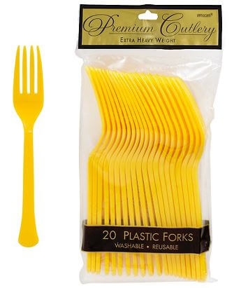 Forks Premium Plastic Mimosa Yellow - 20CT-0