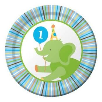 "Sweet at 1 Birthday Boy Snack Plates 7"" - 8CT-0"