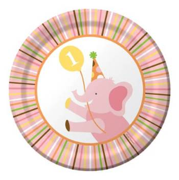 "Sweet at 1 Birthday Girl Snack Plates 7"" - 8CT-0"