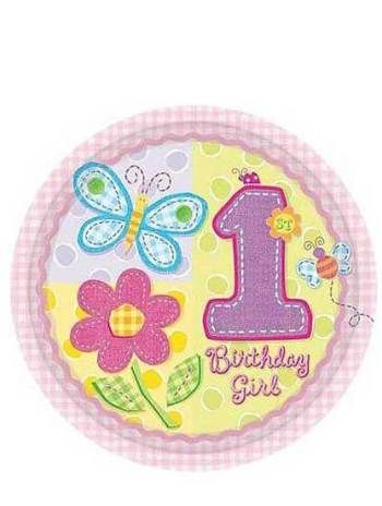 "Hugs & Stitches Girl Paper Plates 10.5"" - 8ct-0"