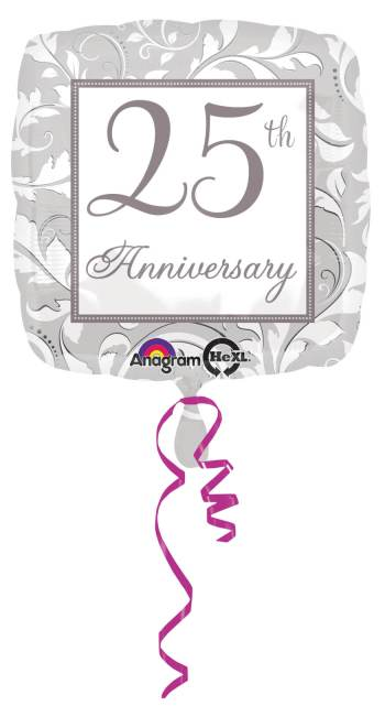 "18"" Square Elegant Scroll 25th Anniversary Balloon S40-0"