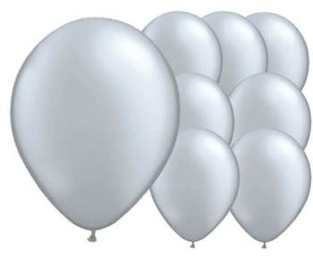 "8"" Silver Latex Balloons -20ct-0"