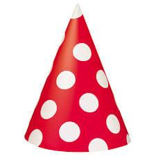 Polka Dot Caps Red - 10PC-0