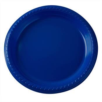 "7"" Premium Plastic Royal Blue Plates - 20CT-0"